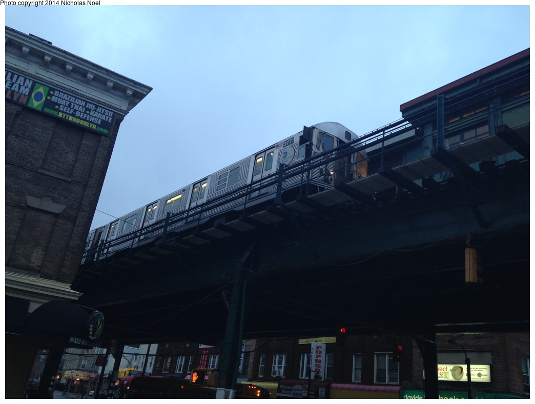 (222k, 1044x788)<br><b>Country:</b> United States<br><b>City:</b> New York<br><b>System:</b> New York City Transit<br><b>Line:</b> BMT Nassau Street/Jamaica Line<br><b>Location:</b> Norwood Avenue <br><b>Route:</b> J<br><b>Car:</b> R-32 (Budd, 1964)  3771 <br><b>Photo by:</b> Nicholas Noel<br><b>Date:</b> 3/20/2014<br><b>Viewed (this week/total):</b> 0 / 1370