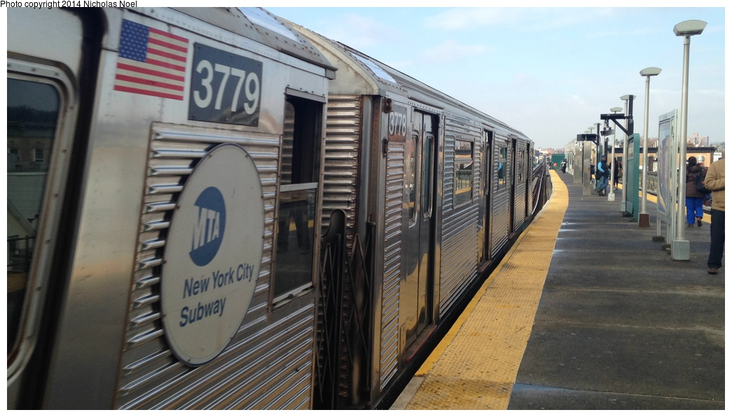 (231k, 1044x596)<br><b>Country:</b> United States<br><b>City:</b> New York<br><b>System:</b> New York City Transit<br><b>Line:</b> BMT Nassau Street/Jamaica Line<br><b>Location:</b> Norwood Avenue <br><b>Route:</b> J<br><b>Car:</b> R-32 (Budd, 1964)  3778 <br><b>Photo by:</b> Nicholas Noel<br><b>Date:</b> 3/20/2014<br><b>Viewed (this week/total):</b> 6 / 1137
