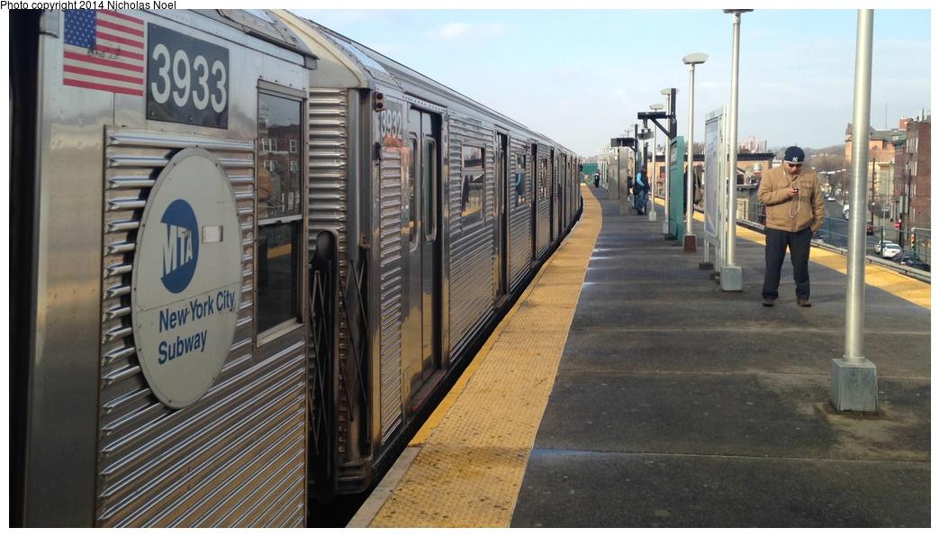 (251k, 1044x596)<br><b>Country:</b> United States<br><b>City:</b> New York<br><b>System:</b> New York City Transit<br><b>Line:</b> BMT Nassau Street/Jamaica Line<br><b>Location:</b> Norwood Avenue <br><b>Route:</b> J<br><b>Car:</b> R-32 (Budd, 1964)  3932 <br><b>Photo by:</b> Nicholas Noel<br><b>Date:</b> 3/20/2014<br><b>Viewed (this week/total):</b> 0 / 968