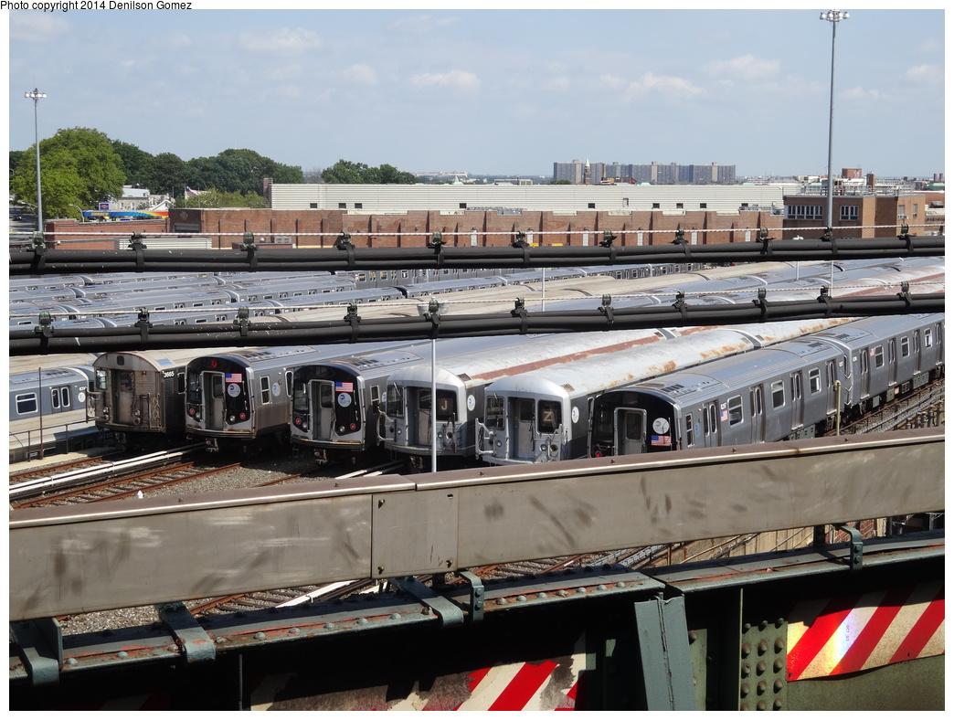 (377k, 1044x788)<br><b>Country:</b> United States<br><b>City:</b> New York<br><b>System:</b> New York City Transit<br><b>Location:</b> East New York Yard/Shops<br><b>Photo by:</b> Denilson Gomez<br><b>Date:</b> 8/27/2013<br><b>Notes:</b> R32s, R42s, R143s and R160As at East New York Yard<br><b>Viewed (this week/total):</b> 0 / 821