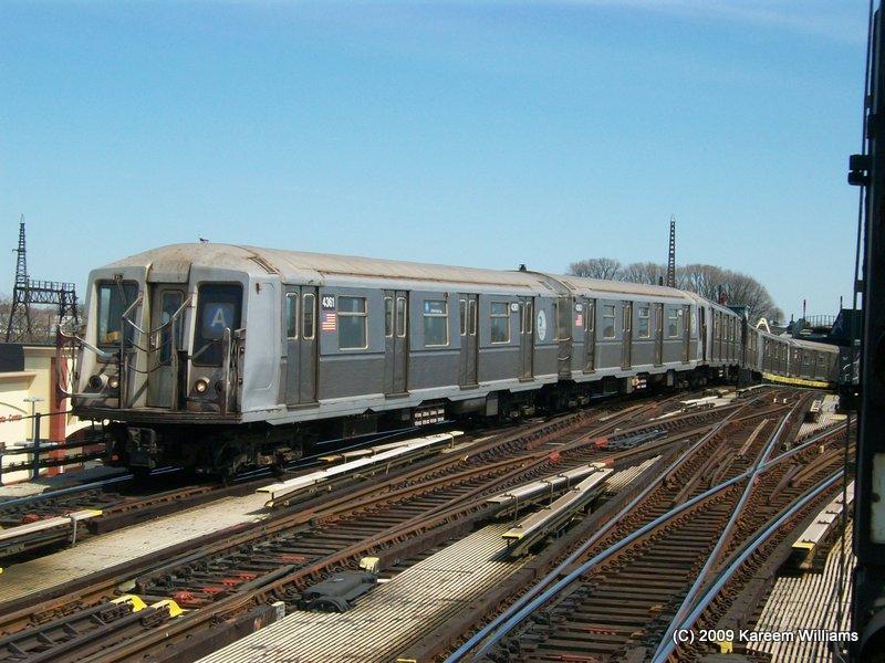 (119k, 800x600)<br><b>Country:</b> United States<br><b>City:</b> New York<br><b>System:</b> New York City Transit<br><b>Line:</b> IND Fulton Street Line<br><b>Location:</b> Rockaway Boulevard <br><b>Route:</b> A<br><b>Car:</b> R-40 (St. Louis, 1968)  4361 <br><b>Photo by:</b> Kareem Williams<br><b>Date:</b> 4/13/2009<br><b>Viewed (this week/total):</b> 2 / 802