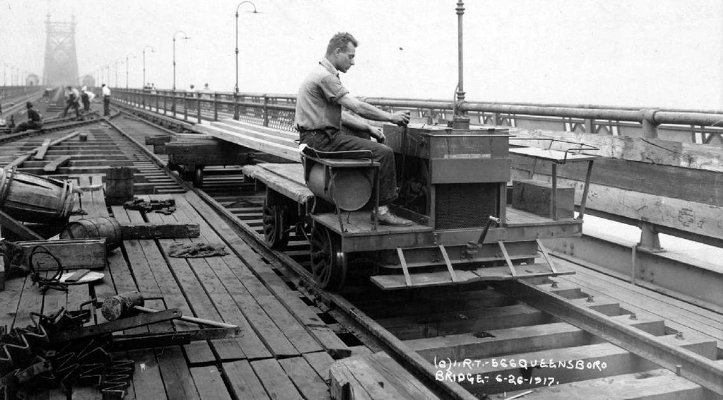(202k, 1024x566)<br><b>Country:</b> United States<br><b>City:</b> New York<br><b>System:</b> New York City Transit<br><b>Line:</b> 2nd Avenue El<br><b>Location:</b> Queensborough Bridge <br><b>Collection of:</b> Frank Pfuhler<br><b>Date:</b> 6/26/1917<br><b>Notes:</b> Construction of el tracks<br><b>Viewed (this week/total):</b> 3 / 1840