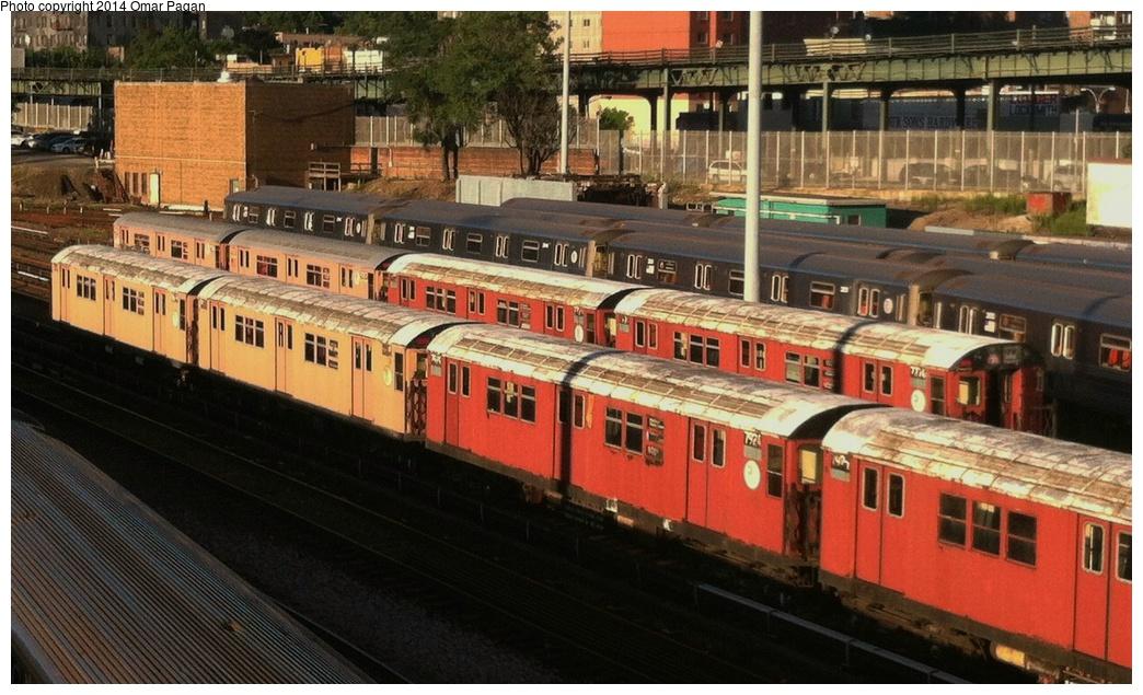(304k, 1044x635)<br><b>Country:</b> United States<br><b>City:</b> New York<br><b>System:</b> New York City Transit<br><b>Location:</b> Concourse Yard<br><b>Car:</b> R-26 (American Car & Foundry, 1959-60) 7924 <br><b>Photo by:</b> Omar Pagan<br><b>Date:</b> 8/6/2013<br><b>Notes:</b> R26 7774-7775, R36WF 9586-9587. Bottom: R28 7924-7925, R29 8678-8679<br><b>Viewed (this week/total):</b> 1 / 799