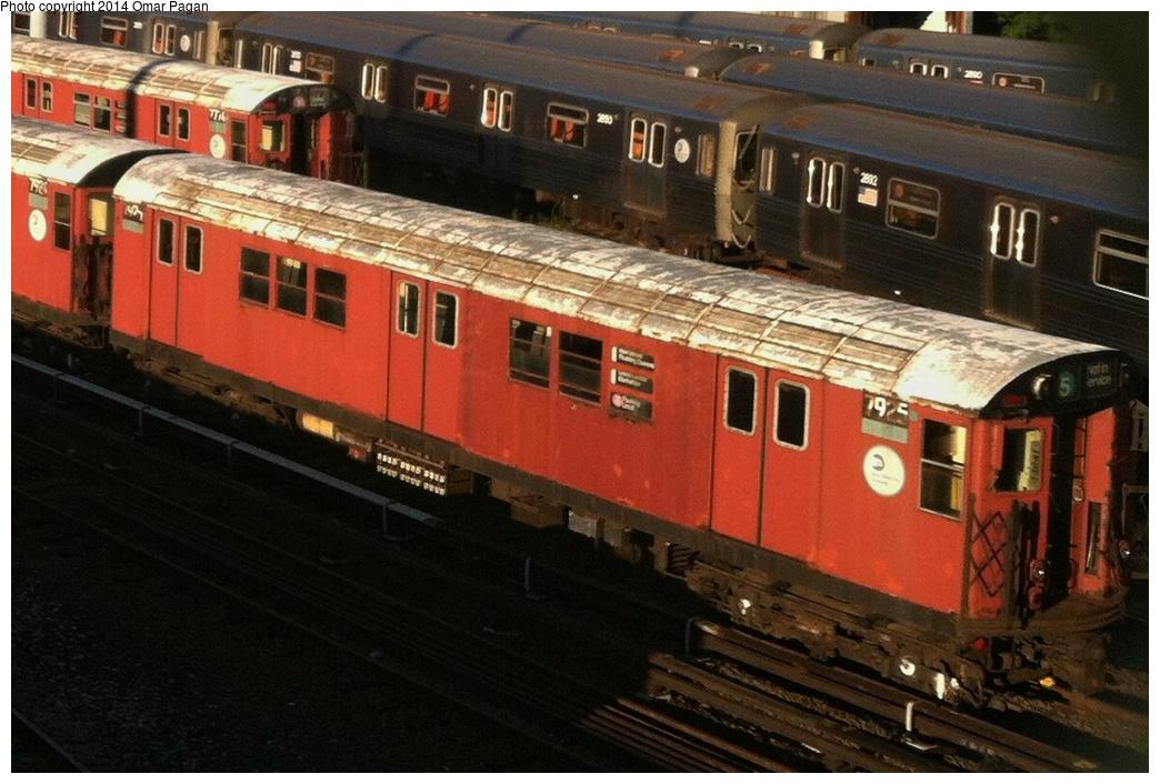 (292k, 1044x706)<br><b>Country:</b> United States<br><b>City:</b> New York<br><b>System:</b> New York City Transit<br><b>Location:</b> Concourse Yard<br><b>Car:</b> R-26 (American Car & Foundry, 1959-60) 7925 <br><b>Photo by:</b> Omar Pagan<br><b>Date:</b> 8/6/2013<br><b>Viewed (this week/total):</b> 1 / 838