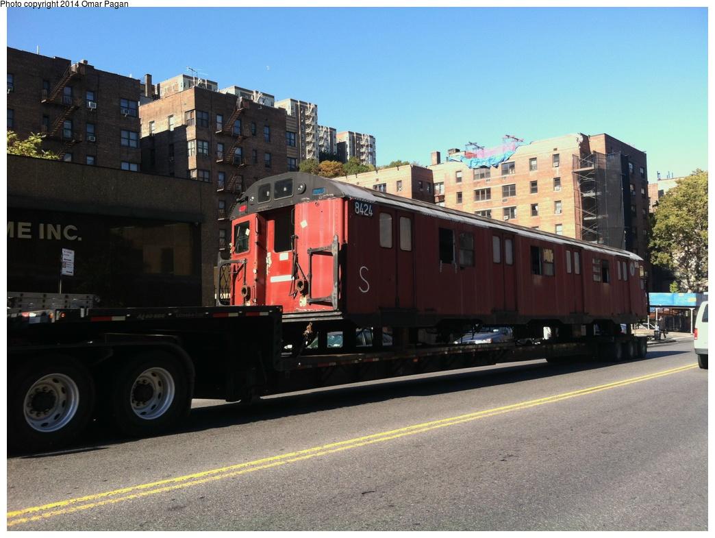 (305k, 1044x785)<br><b>Country:</b> United States<br><b>City:</b> New York<br><b>System:</b> New York City Transit<br><b>Location:</b> 207th Street Yard<br><b>Car:</b> R-30 (St. Louis, 1961) 8424 <br><b>Photo by:</b> Omar Pagan<br><b>Date:</b> 10/21/2013<br><b>Notes:</b> Departing 207th St yard at 215th Street and 10th Avenue. Being sent to scrap to SIMS Metal Management in Newark, New Jersey.<br><b>Viewed (this week/total):</b> 0 / 743