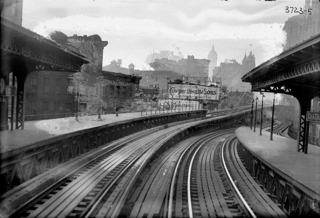 (270k, 1024x697)<br><b>Country:</b> United States<br><b>City:</b> New York<br><b>System:</b> New York City Transit<br><b>Line:</b> 3rd Avenue El<br><b>Location:</b> Chatham Square <br><b>Collection of:</b> Frank Pfuhler<br><b>Date:</b> 1910<br><b>Viewed (this week/total):</b> 2 / 457