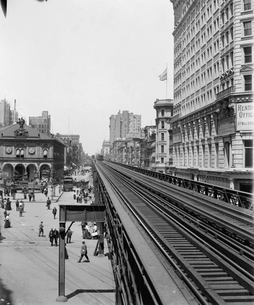 (316k, 852x1024)<br><b>Country:</b> United States<br><b>City:</b> New York<br><b>System:</b> New York City Transit<br><b>Line:</b> 6th Avenue El<br><b>Location:</b> 33rd Street <br><b>Photo by:</b> Detroit Publishing Co.<br><b>Collection of:</b> Library of Congress, Prints and Photographs Division<br><b>Viewed (this week/total):</b> 1 / 611