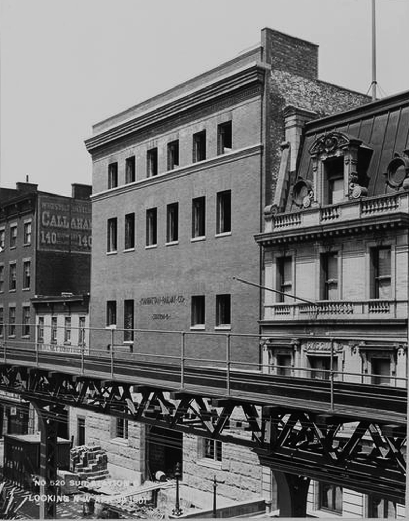 (387k, 800x1018)<br><b>Country:</b> United States<br><b>City:</b> New York<br><b>System:</b> New York City Transit<br><b>Line:</b> 3rd Avenue El<br><b>Location:</b> 34th Street Spur - Substation <br><b>Collection of:</b> Charles A. Warren<br><b>Notes:</b> Substation 8, 239 E 34th (still exists, now Yeshiva U)<br><b>Viewed (this week/total):</b> 10 / 1089