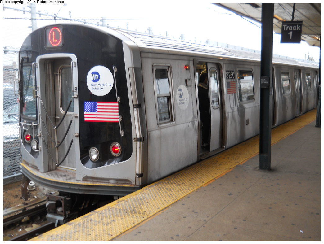 (332k, 1044x788)<br><b>Country:</b> United States<br><b>City:</b> New York<br><b>System:</b> New York City Transit<br><b>Line:</b> BMT Canarsie Line<br><b>Location:</b> Rockaway Parkway <br><b>Route:</b> L<br><b>Car:</b> R-143 (Kawasaki, 2001-2002) 8260 <br><b>Photo by:</b> Robert Mencher<br><b>Date:</b> 4/4/2014<br><b>Viewed (this week/total):</b> 1 / 915