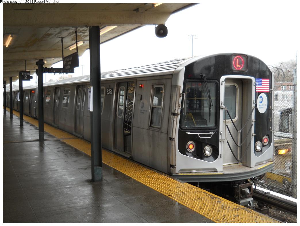 (342k, 1044x788)<br><b>Country:</b> United States<br><b>City:</b> New York<br><b>System:</b> New York City Transit<br><b>Line:</b> BMT Canarsie Line<br><b>Location:</b> Rockaway Parkway <br><b>Route:</b> L<br><b>Car:</b> R-160A-1 (Alstom, 2005-2008, 4 car sets)  8361 <br><b>Photo by:</b> Robert Mencher<br><b>Date:</b> 4/4/2014<br><b>Viewed (this week/total):</b> 0 / 882