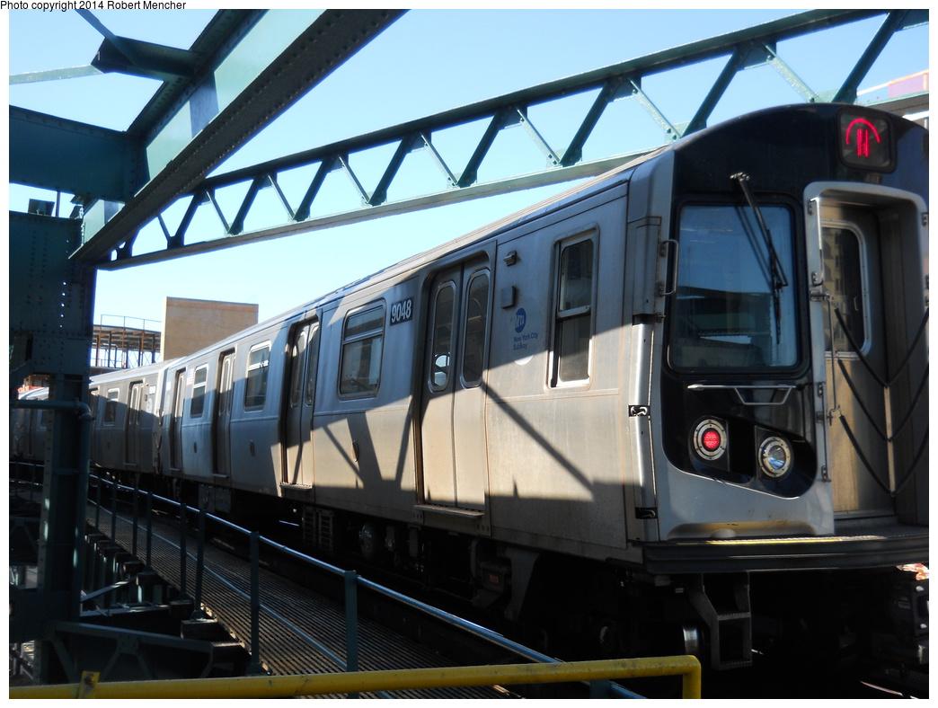 (342k, 1044x788)<br><b>Country:</b> United States<br><b>City:</b> New York<br><b>System:</b> New York City Transit<br><b>Line:</b> BMT Astoria Line<br><b>Location:</b> Queensborough Plaza <br><b>Route:</b> N<br><b>Car:</b> R-160B (Option 1) (Kawasaki, 2008-2009)  9048 <br><b>Photo by:</b> Robert Mencher<br><b>Date:</b> 4/6/2014<br><b>Viewed (this week/total):</b> 0 / 925
