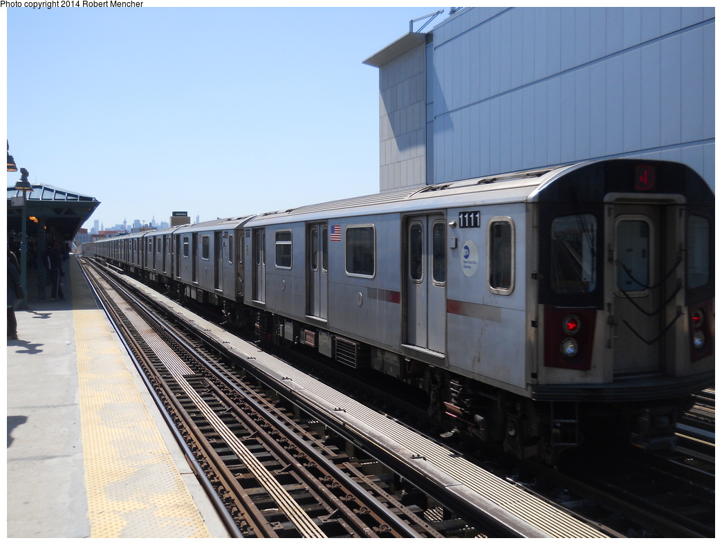 (337k, 1044x788)<br><b>Country:</b> United States<br><b>City:</b> New York<br><b>System:</b> New York City Transit<br><b>Line:</b> IRT Woodlawn Line<br><b>Location:</b> 161st Street/River Avenue (Yankee Stadium) <br><b>Route:</b> 4<br><b>Car:</b> R-142 (Option Order, Bombardier, 2002-2003)  1111 <br><b>Photo by:</b> Robert Mencher<br><b>Date:</b> 4/10/2014<br><b>Viewed (this week/total):</b> 3 / 733