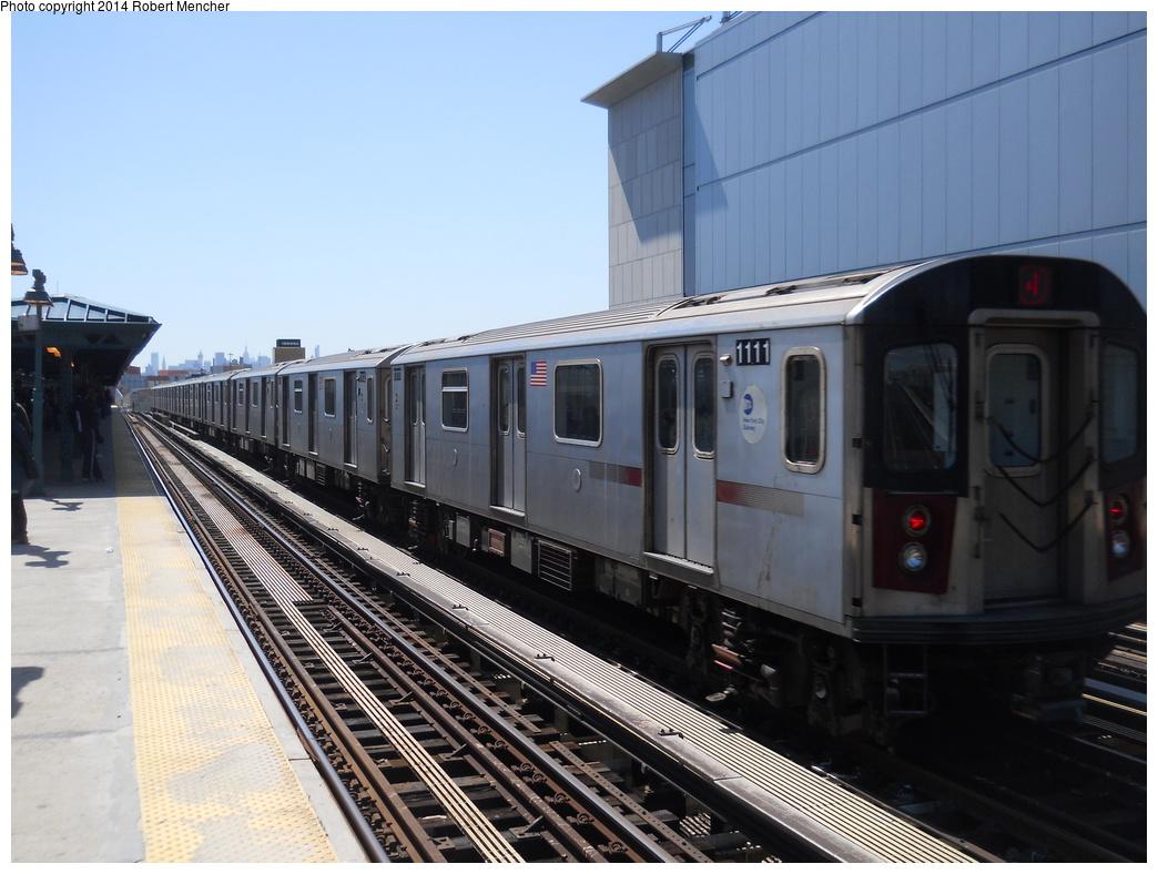 (337k, 1044x788)<br><b>Country:</b> United States<br><b>City:</b> New York<br><b>System:</b> New York City Transit<br><b>Line:</b> IRT Woodlawn Line<br><b>Location:</b> 161st Street/River Avenue (Yankee Stadium) <br><b>Route:</b> 4<br><b>Car:</b> R-142 (Option Order, Bombardier, 2002-2003)  1111 <br><b>Photo by:</b> Robert Mencher<br><b>Date:</b> 4/10/2014<br><b>Viewed (this week/total):</b> 0 / 724
