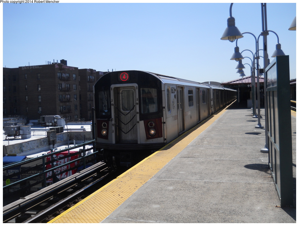 (348k, 1044x788)<br><b>Country:</b> United States<br><b>City:</b> New York<br><b>System:</b> New York City Transit<br><b>Line:</b> IRT Woodlawn Line<br><b>Location:</b> Burnside Avenue <br><b>Route:</b> 4<br><b>Car:</b> R-142A (Supplemental Order, Kawasaki, 2003-2004)  7785 <br><b>Photo by:</b> Robert Mencher<br><b>Date:</b> 4/10/2014<br><b>Viewed (this week/total):</b> 3 / 946