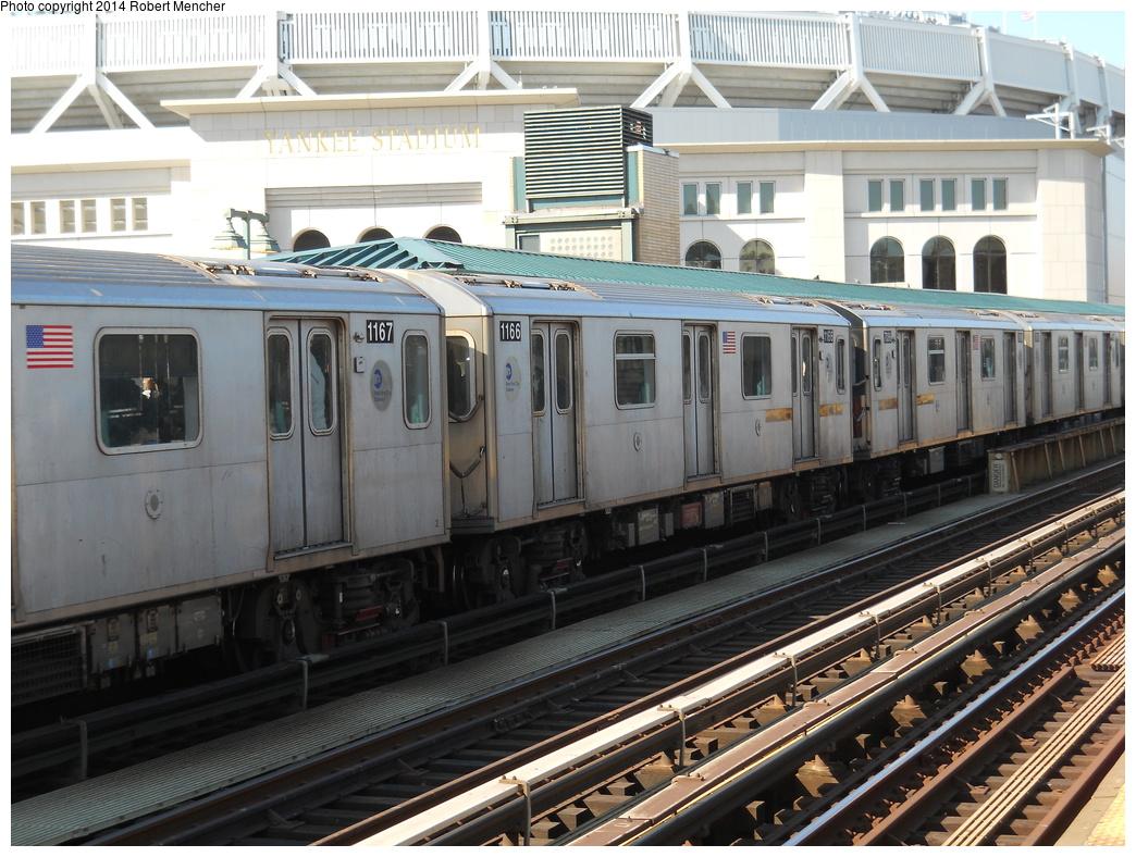 (406k, 1044x788)<br><b>Country:</b> United States<br><b>City:</b> New York<br><b>System:</b> New York City Transit<br><b>Line:</b> IRT Woodlawn Line<br><b>Location:</b> 161st Street/River Avenue (Yankee Stadium) <br><b>Route:</b> 4<br><b>Car:</b> R-142 (Option Order, Bombardier, 2002-2003)  1166 <br><b>Photo by:</b> Robert Mencher<br><b>Date:</b> 4/10/2014<br><b>Viewed (this week/total):</b> 2 / 690