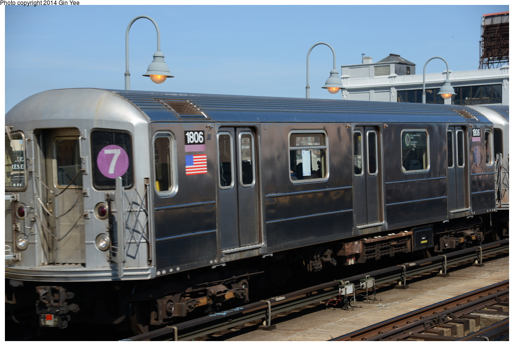 (307k, 1044x703)<br><b>Country:</b> United States<br><b>City:</b> New York<br><b>System:</b> New York City Transit<br><b>Line:</b> IRT Flushing Line<br><b>Location:</b> 33rd Street/Rawson Street <br><b>Route:</b> 7<br><b>Car:</b> R-62A (Bombardier, 1984-1987)  1806 <br><b>Photo by:</b> Gin Yee<br><b>Date:</b> 4/10/2014<br><b>Viewed (this week/total):</b> 1 / 807