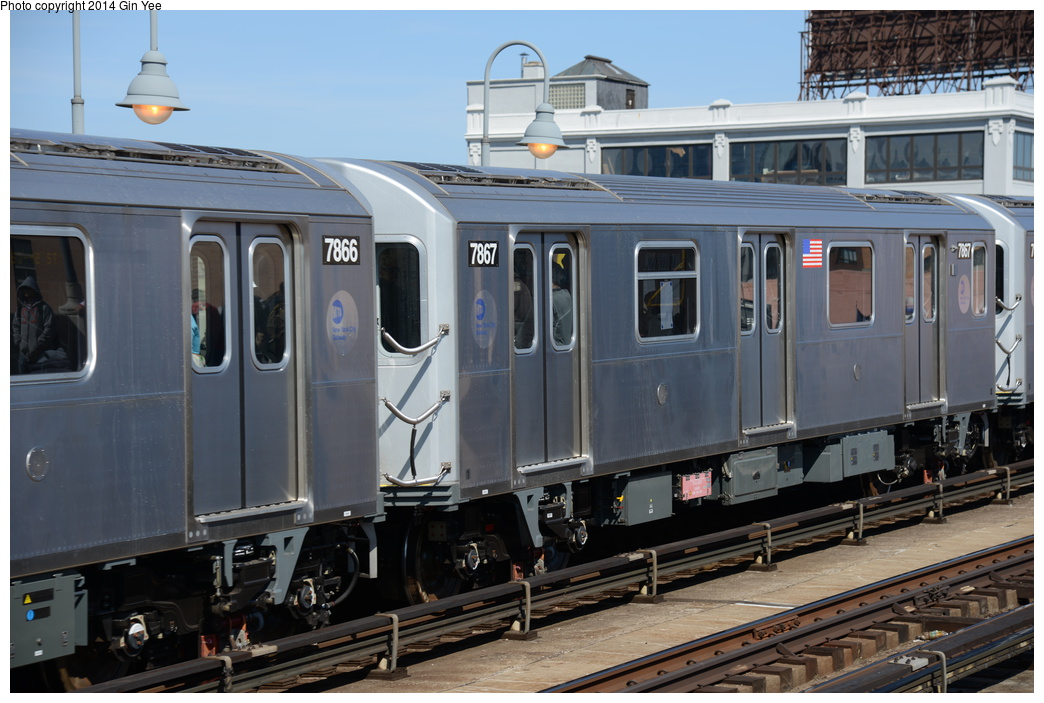 (335k, 1044x703)<br><b>Country:</b> United States<br><b>City:</b> New York<br><b>System:</b> New York City Transit<br><b>Line:</b> IRT Flushing Line<br><b>Location:</b> 33rd Street/Rawson Street <br><b>Route:</b> 7<br><b>Car:</b> R-188 (Kawasaki, 2012-) 7867 <br><b>Photo by:</b> Gin Yee<br><b>Date:</b> 4/10/2014<br><b>Viewed (this week/total):</b> 2 / 964