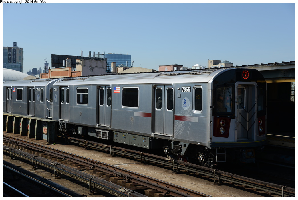 (301k, 1044x703)<br><b>Country:</b> United States<br><b>City:</b> New York<br><b>System:</b> New York City Transit<br><b>Line:</b> IRT Flushing Line<br><b>Location:</b> 33rd Street/Rawson Street <br><b>Route:</b> 7<br><b>Car:</b> R-188 (Kawasaki, 2012-) 7865 <br><b>Photo by:</b> Gin Yee<br><b>Date:</b> 4/10/2014<br><b>Viewed (this week/total):</b> 3 / 994