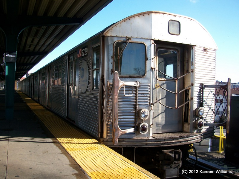 (164k, 800x600)<br><b>Country:</b> United States<br><b>City:</b> New York<br><b>System:</b> New York City Transit<br><b>Line:</b> IND Rockaway<br><b>Location:</b> Mott Avenue/Far Rockaway <br><b>Route:</b> S<br><b>Car:</b> R-32 (Budd, 1964)  3729 <br><b>Photo by:</b> Kareem Williams<br><b>Date:</b> 12/20/2012<br><b>Viewed (this week/total):</b> 1 / 591