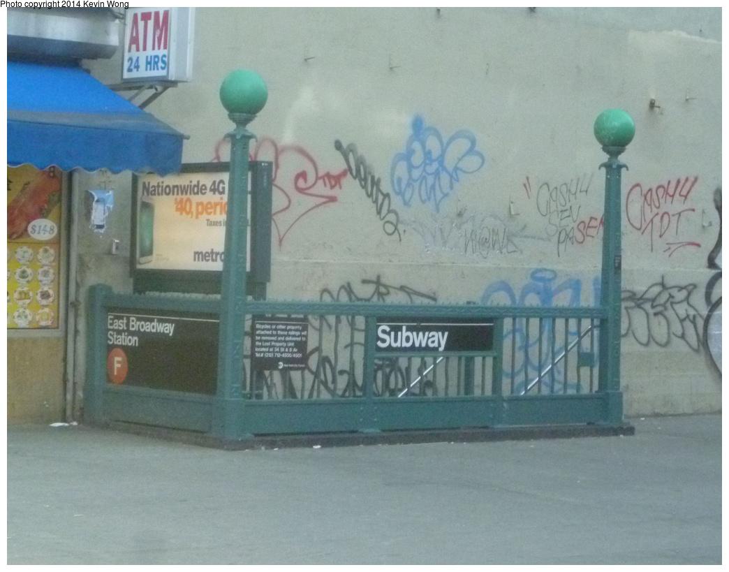(312k, 1044x819)<br><b>Country:</b> United States<br><b>City:</b> New York<br><b>System:</b> New York City Transit<br><b>Line:</b> IND 6th Avenue Line<br><b>Location:</b> East Broadway <br><b>Photo by:</b> Kevin Wong<br><b>Date:</b> 4/12/2014<br><b>Notes:</b> Station entrance<br><b>Viewed (this week/total):</b> 7 / 1437