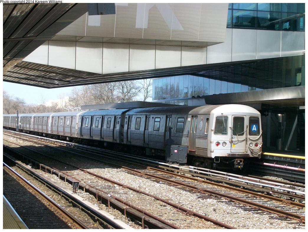 (400k, 1044x788)<br><b>Country:</b> United States<br><b>City:</b> New York<br><b>System:</b> New York City Transit<br><b>Line:</b> IND Rockaway<br><b>Location:</b> Howard Beach <br><b>Route:</b> A<br><b>Car:</b> R-44 (St. Louis, 1971-73) 5458 <br><b>Photo by:</b> Kareem Williams<br><b>Date:</b> 4/13/2009<br><b>Viewed (this week/total):</b> 0 / 767