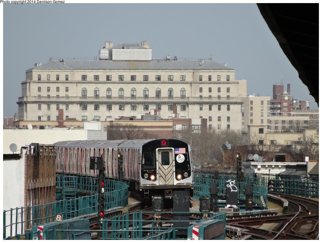 (377k, 1044x788)<br><b>Country:</b> United States<br><b>City:</b> New York<br><b>System:</b> New York City Transit<br><b>Line:</b> BMT Nassau Street/Jamaica Line<br><b>Location:</b> 121st Street <br><b>Route:</b> J<br><b>Car:</b> R-160A-1 (Alstom, 2005-2008, 4 car sets)  8356 <br><b>Photo by:</b> Denilson Gomez<br><b>Date:</b> 4/14/2014<br><b>Notes:</b> Youtube wrap<br><b>Viewed (this week/total):</b> 1 / 1412