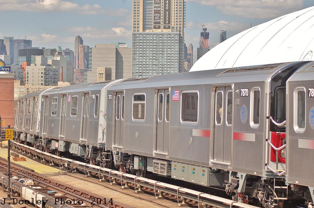 (373k, 1024x680)<br><b>Country:</b> United States<br><b>City:</b> New York<br><b>System:</b> New York City Transit<br><b>Line:</b> IRT Flushing Line<br><b>Location:</b> 33rd Street/Rawson Street <br><b>Route:</b> 7<br><b>Car:</b> R-188 (Kawasaki, 2012-) 7870 <br><b>Photo by:</b> John Dooley<br><b>Date:</b> 4/9/2014<br><b>Viewed (this week/total):</b> 0 / 1394