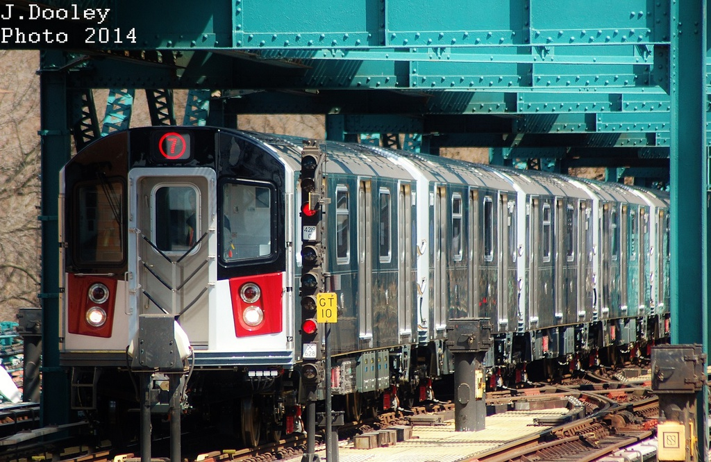 (387k, 1024x665)<br><b>Country:</b> United States<br><b>City:</b> New York<br><b>System:</b> New York City Transit<br><b>Line:</b> IRT Flushing Line<br><b>Location:</b> 111th Street <br><b>Route:</b> 7<br><b>Car:</b> R-188 (Kawasaki, 2012-)  <br><b>Photo by:</b> John Dooley<br><b>Date:</b> 4/9/2014<br><b>Viewed (this week/total):</b> 0 / 1882