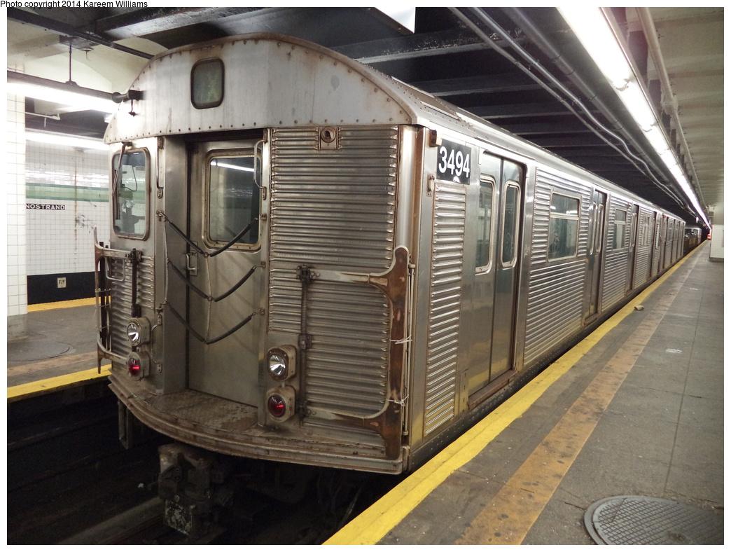(347k, 1044x788)<br><b>Country:</b> United States<br><b>City:</b> New York<br><b>System:</b> New York City Transit<br><b>Line:</b> IND Crosstown Line<br><b>Location:</b> Bedford/Nostrand Aves. <br><b>Route:</b> Work Service<br><b>Car:</b> R-32 (Budd, 1964)  3494 <br><b>Photo by:</b> Kareem Williams<br><b>Date:</b> 7/26/2013<br><b>Viewed (this week/total):</b> 2 / 1201