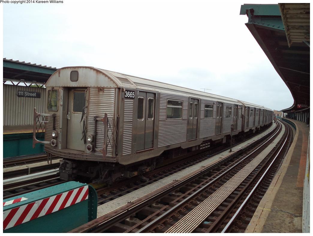 (315k, 1044x788)<br><b>Country:</b> United States<br><b>City:</b> New York<br><b>System:</b> New York City Transit<br><b>Line:</b> BMT Nassau Street/Jamaica Line<br><b>Location:</b> 111th Street <br><b>Route:</b> Layup<br><b>Car:</b> R-32 (Budd, 1964)  3665 <br><b>Photo by:</b> Kareem Williams<br><b>Date:</b> 7/28/2013<br><b>Viewed (this week/total):</b> 1 / 950