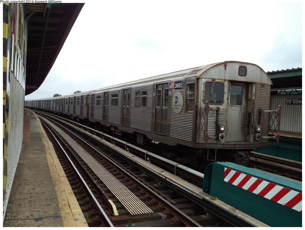 (310k, 1044x788)<br><b>Country:</b> United States<br><b>City:</b> New York<br><b>System:</b> New York City Transit<br><b>Line:</b> BMT Nassau Street/Jamaica Line<br><b>Location:</b> 111th Street <br><b>Route:</b> Layup<br><b>Car:</b> R-32 (Budd, 1964)  3665 <br><b>Photo by:</b> Kareem Williams<br><b>Date:</b> 7/28/2013<br><b>Viewed (this week/total):</b> 4 / 848
