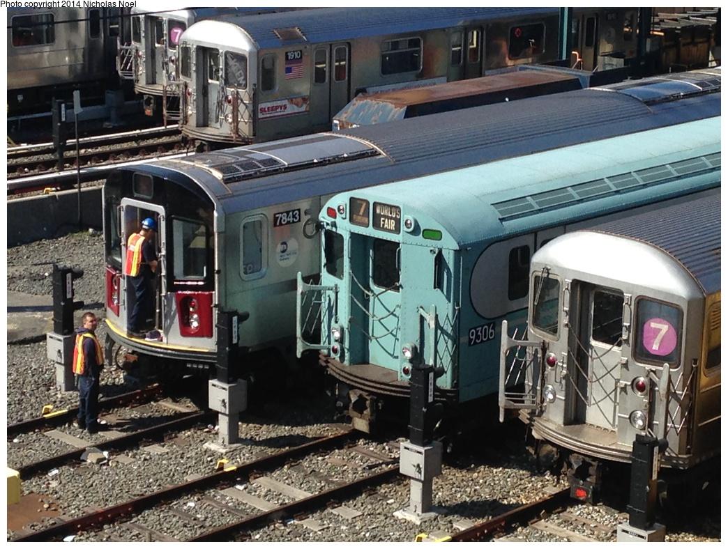 (360k, 1044x788)<br><b>Country:</b> United States<br><b>City:</b> New York<br><b>System:</b> New York City Transit<br><b>Location:</b> Corona Yard<br><b>Car:</b> R-188 (Kawasaki, 2012-) 7843 <br><b>Photo by:</b> Nicholas Noel<br><b>Date:</b> 5/18/2014<br><b>Notes:</b> With R-33-WF 9306<br><b>Viewed (this week/total):</b> 3 / 1248