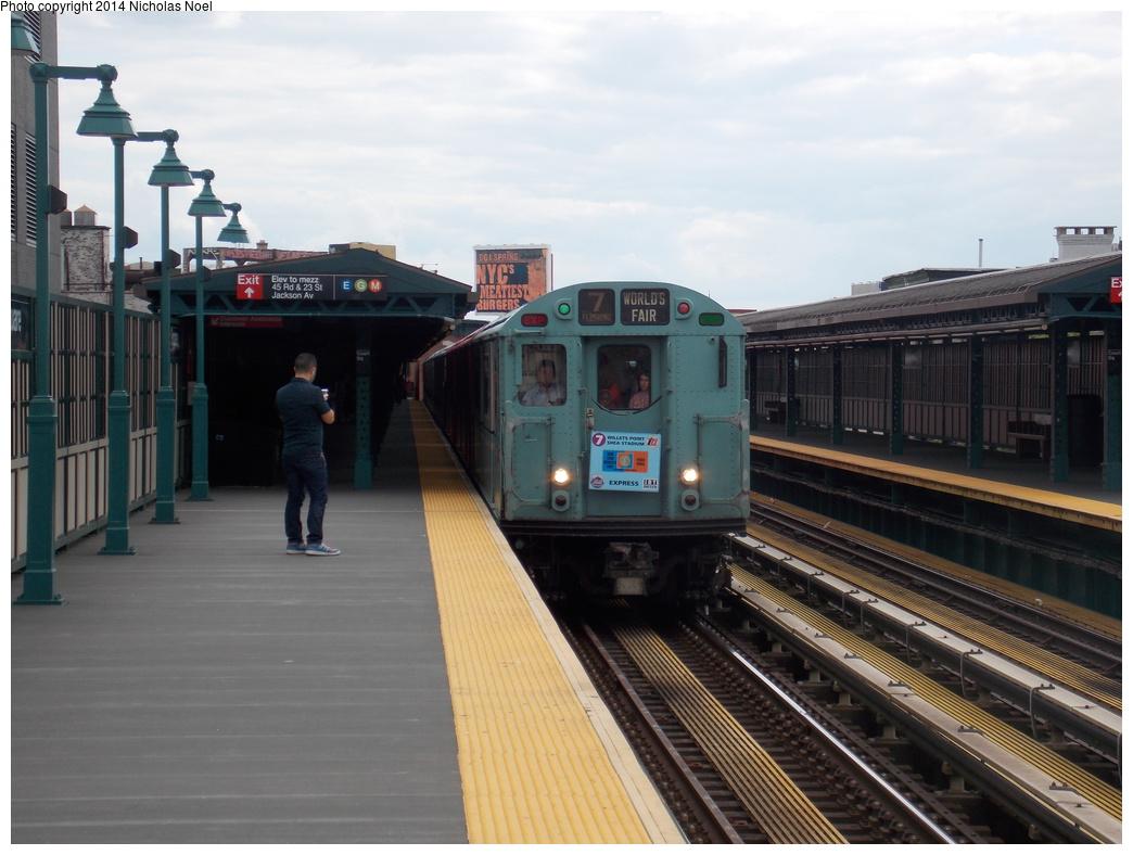 (326k, 1044x788)<br><b>Country:</b> United States<br><b>City:</b> New York<br><b>System:</b> New York City Transit<br><b>Line:</b> IRT Flushing Line<br><b>Location:</b> Court House Square/45th Road <br><b>Route:</b> Museum Train Service (7)<br><b>Car:</b> R-33 World's Fair (St. Louis, 1963-64) 9306 <br><b>Photo by:</b> Nicholas Noel<br><b>Date:</b> 5/18/2013<br><b>Viewed (this week/total):</b> 0 / 748