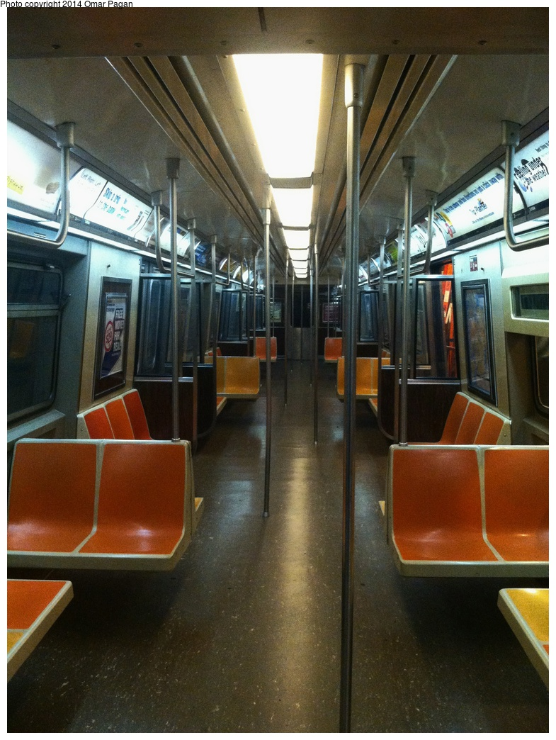 (343k, 785x1044)<br><b>Country:</b> United States<br><b>City:</b> New York<br><b>System:</b> New York City Transit<br><b>Location:</b> New York Transit Museum<br><b>Car:</b> R-44 (St. Louis, 1971-73) 5420 <br><b>Photo by:</b> Omar Pagan<br><b>Date:</b> 5/16/2014<br><b>Notes:</b> With new LED lighting installed. Interior car lights modified to receive electricity from a wall outlet.<br><b>Viewed (this week/total):</b> 0 / 1776