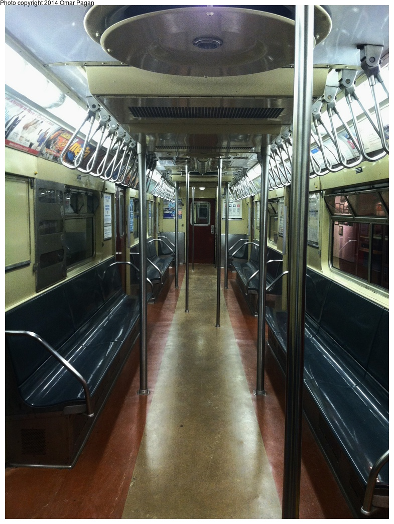 (348k, 785x1044)<br><b>Country:</b> United States<br><b>City:</b> New York<br><b>System:</b> New York City Transit<br><b>Location:</b> New York Transit Museum<br><b>Car:</b> R-36 World's Fair (St. Louis, 1963-64) 9586 <br><b>Photo by:</b> Omar Pagan<br><b>Date:</b> 5/16/2014<br><b>Notes:</b> Interior at Transit Museum<br><b>Viewed (this week/total):</b> 0 / 1905
