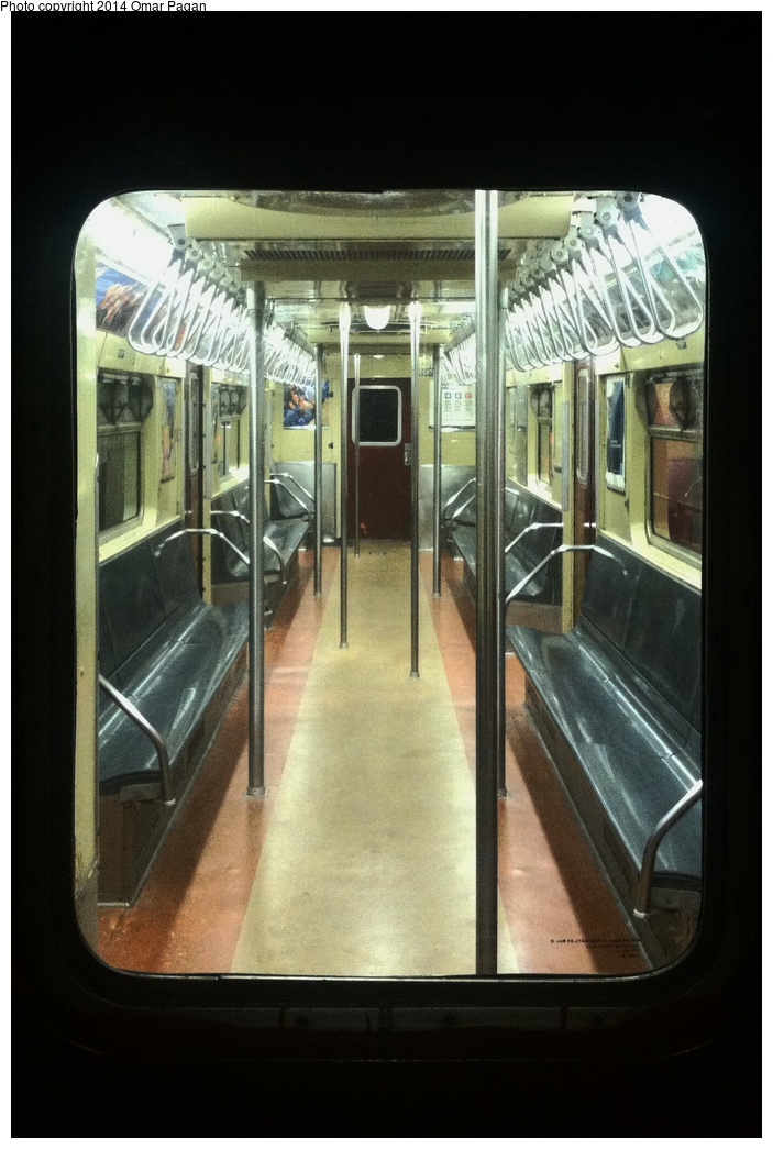 (264k, 703x1045)<br><b>Country:</b> United States<br><b>City:</b> New York<br><b>System:</b> New York City Transit<br><b>Location:</b> New York Transit Museum<br><b>Car:</b> R-36 World's Fair (St. Louis, 1963-64) 9587 <br><b>Photo by:</b> Omar Pagan<br><b>Date:</b> 5/16/2014<br><b>Notes:</b> Interior at Transit Museum<br><b>Viewed (this week/total):</b> 1 / 1048