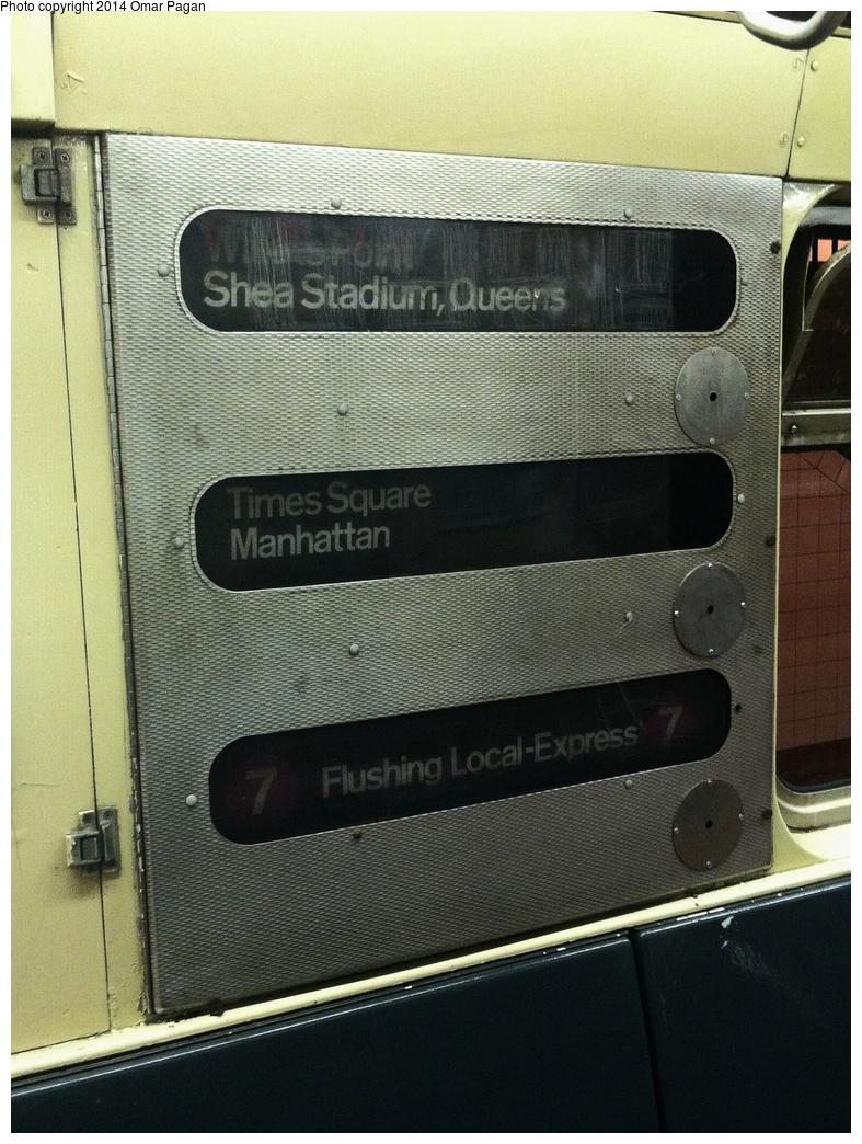 (362k, 787x1044)<br><b>Country:</b> United States<br><b>City:</b> New York<br><b>System:</b> New York City Transit<br><b>Location:</b> New York Transit Museum<br><b>Car:</b> R-36 World's Fair (St. Louis, 1963-64) 9586 <br><b>Photo by:</b> Omar Pagan<br><b>Date:</b> 5/16/2014<br><b>Notes:</b> Interior roll sign<br><b>Viewed (this week/total):</b> 4 / 1347