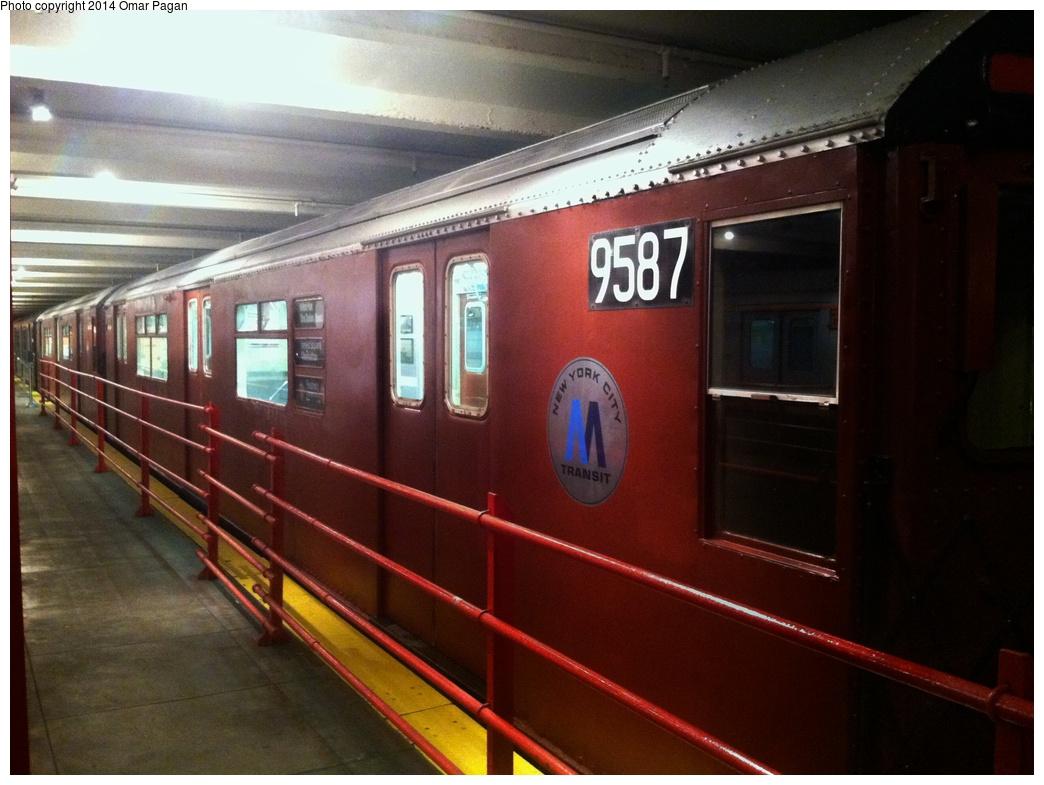 (269k, 1044x785)<br><b>Country:</b> United States<br><b>City:</b> New York<br><b>System:</b> New York City Transit<br><b>Location:</b> New York Transit Museum<br><b>Car:</b> R-36 World's Fair (St. Louis, 1963-64) 9587 <br><b>Photo by:</b> Omar Pagan<br><b>Date:</b> 5/16/2014<br><b>Notes:</b> Exterior at museum<br><b>Viewed (this week/total):</b> 2 / 1403