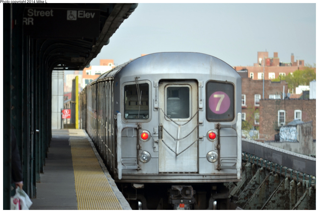 (234k, 1044x698)<br><b>Country:</b> United States<br><b>City:</b> New York<br><b>System:</b> New York City Transit<br><b>Line:</b> IRT Flushing Line<br><b>Location:</b> 61st Street/Woodside <br><b>Route:</b> 7<br><b>Car:</b> R-62A (Bombardier, 1984-1987)   <br><b>Photo by:</b> Mike L.<br><b>Date:</b> 5/3/2014<br><b>Viewed (this week/total):</b> 3 / 867