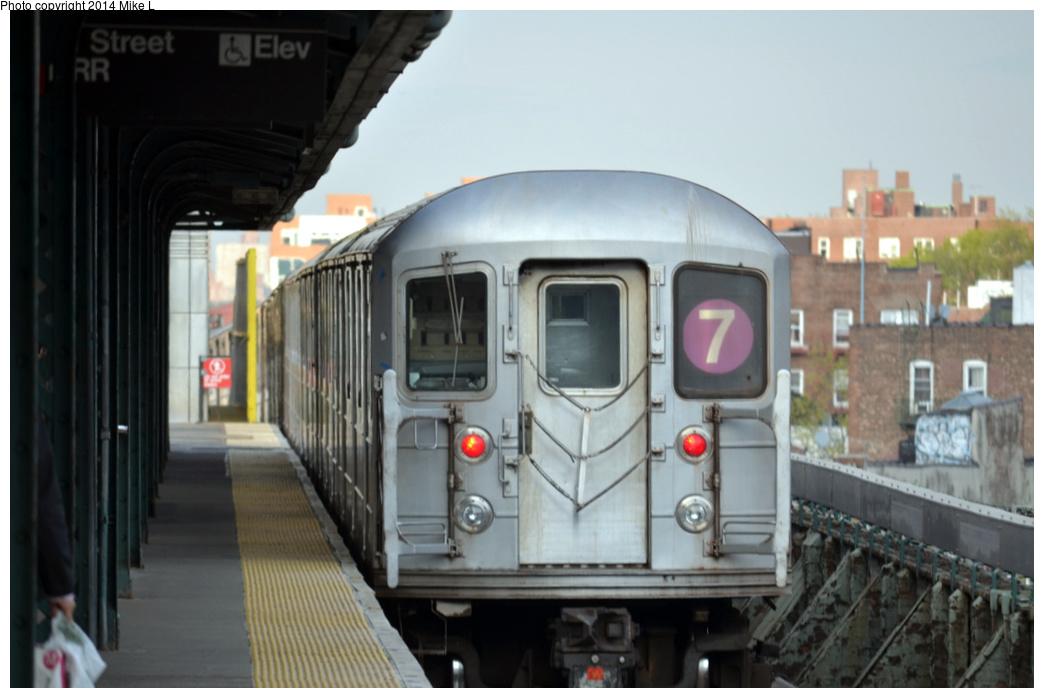 (234k, 1044x698)<br><b>Country:</b> United States<br><b>City:</b> New York<br><b>System:</b> New York City Transit<br><b>Line:</b> IRT Flushing Line<br><b>Location:</b> 61st Street/Woodside <br><b>Route:</b> 7<br><b>Car:</b> R-62A (Bombardier, 1984-1987)   <br><b>Photo by:</b> Mike L.<br><b>Date:</b> 5/3/2014<br><b>Viewed (this week/total):</b> 4 / 851