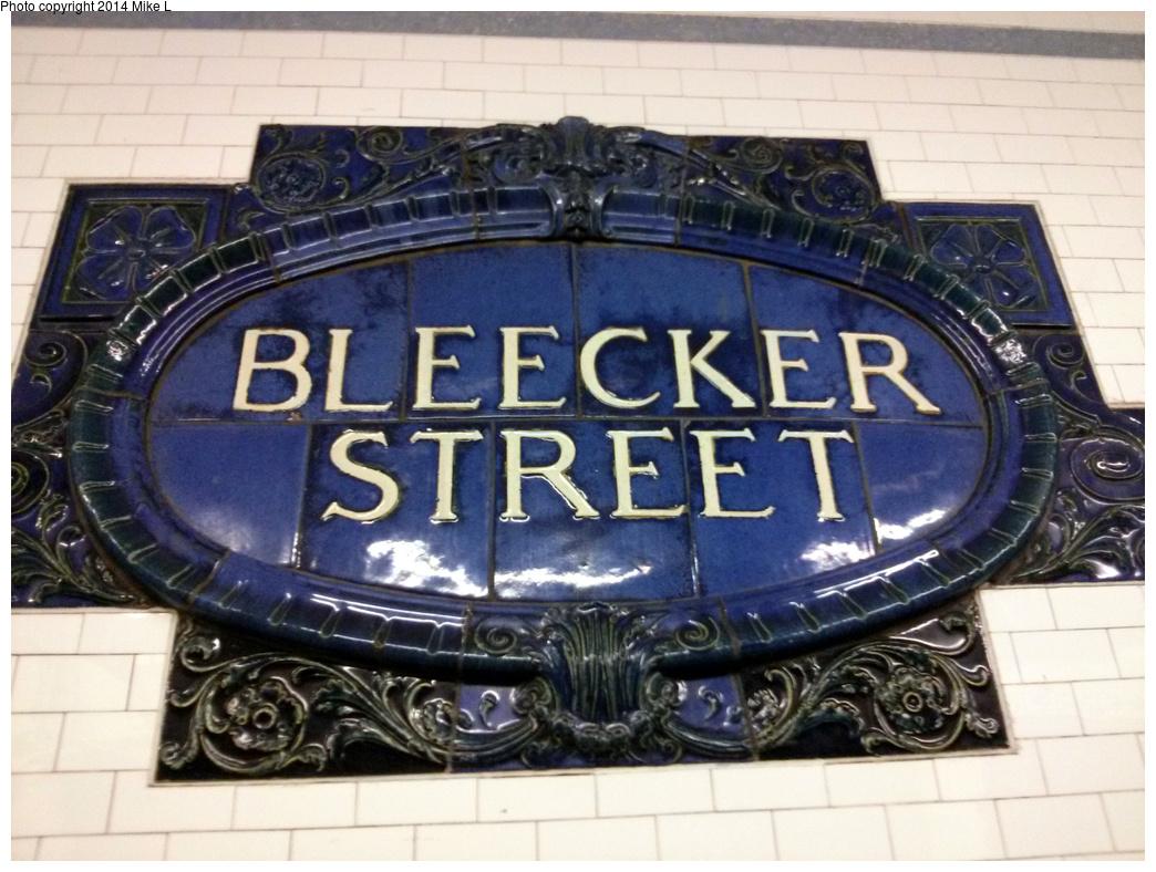 (364k, 1044x788)<br><b>Country:</b> United States<br><b>City:</b> New York<br><b>System:</b> New York City Transit<br><b>Line:</b> IRT East Side Line<br><b>Location:</b> Bleecker Street <br><b>Photo by:</b> Mike L.<br><b>Date:</b> 6/9/2013<br><b>Notes:</b> Restored name tablet<br><b>Viewed (this week/total):</b> 3 / 697