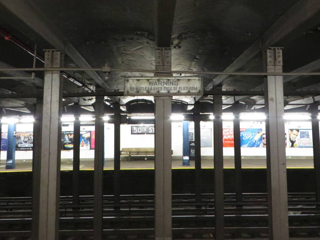 (96k, 1024x768)<br><b>Country:</b> United States<br><b>City:</b> New York<br><b>System:</b> New York City Transit<br><b>Line:</b> IND Queens Boulevard Line<br><b>Location:</b> 50th Street <br><b>Photo by:</b> Robbie Rosenfeld<br><b>Date:</b> 5/27/2014<br><b>Notes:</b> Do not lean sign<br><b>Viewed (this week/total):</b> 0 / 1343
