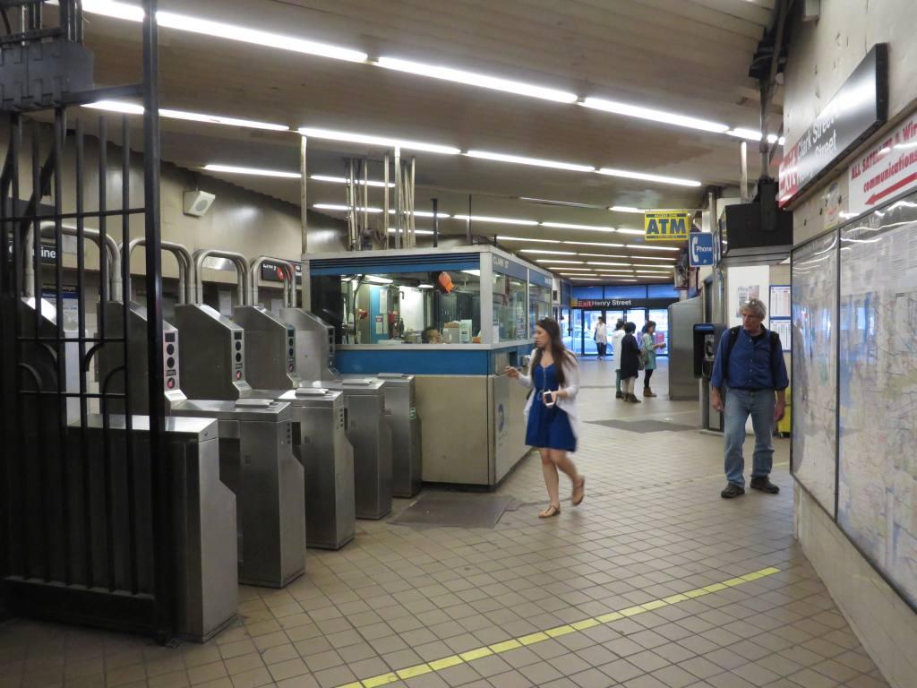 (112k, 1024x768)<br><b>Country:</b> United States<br><b>City:</b> New York<br><b>System:</b> New York City Transit<br><b>Line:</b> IRT Brooklyn Line<br><b>Location:</b> Clark Street <br><b>Photo by:</b> Robbie Rosenfeld<br><b>Date:</b> 5/11/2014<br><b>Notes:</b> Fare control<br><b>Viewed (this week/total):</b> 0 / 1293