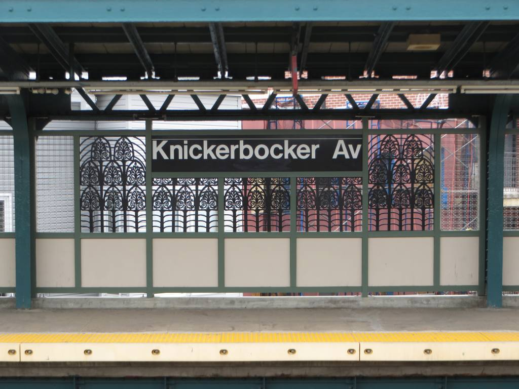 (125k, 1024x768)<br><b>Country:</b> United States<br><b>City:</b> New York<br><b>System:</b> New York City Transit<br><b>Line:</b> BMT Myrtle Avenue Line<br><b>Location:</b> Knickerbocker Avenue <br><b>Photo by:</b> Robbie Rosenfeld<br><b>Date:</b> 5/12/2014<br><b>Artwork:</b> <i>The Digs</i>, Cal Lane (2014).<br><b>Viewed (this week/total):</b> 3 / 1571
