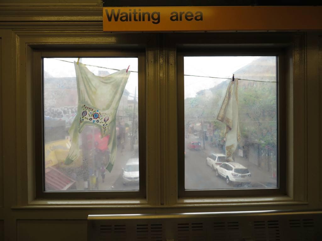 (79k, 1024x768)<br><b>Country:</b> United States<br><b>City:</b> New York<br><b>System:</b> New York City Transit<br><b>Line:</b> BMT Myrtle Avenue Line<br><b>Location:</b> Seneca Avenue <br><b>Photo by:</b> Robbie Rosenfeld<br><b>Date:</b> 5/12/2014<br><b>Artwork:</b> <i>Dom (Variations)</i>, Laura F. Gibellini (2014).<br><b>Viewed (this week/total):</b> 3 / 1101
