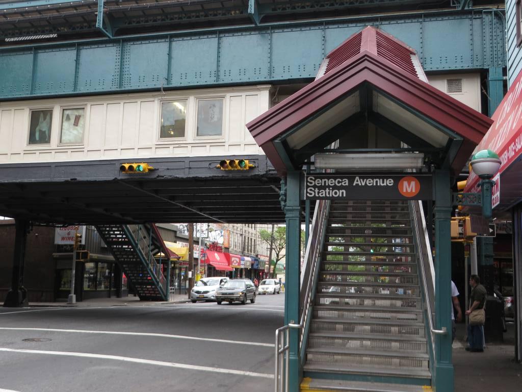 (140k, 1024x768)<br><b>Country:</b> United States<br><b>City:</b> New York<br><b>System:</b> New York City Transit<br><b>Line:</b> BMT Myrtle Avenue Line<br><b>Location:</b> Seneca Avenue <br><b>Photo by:</b> Robbie Rosenfeld<br><b>Date:</b> 5/12/2014<br><b>Viewed (this week/total):</b> 0 / 986