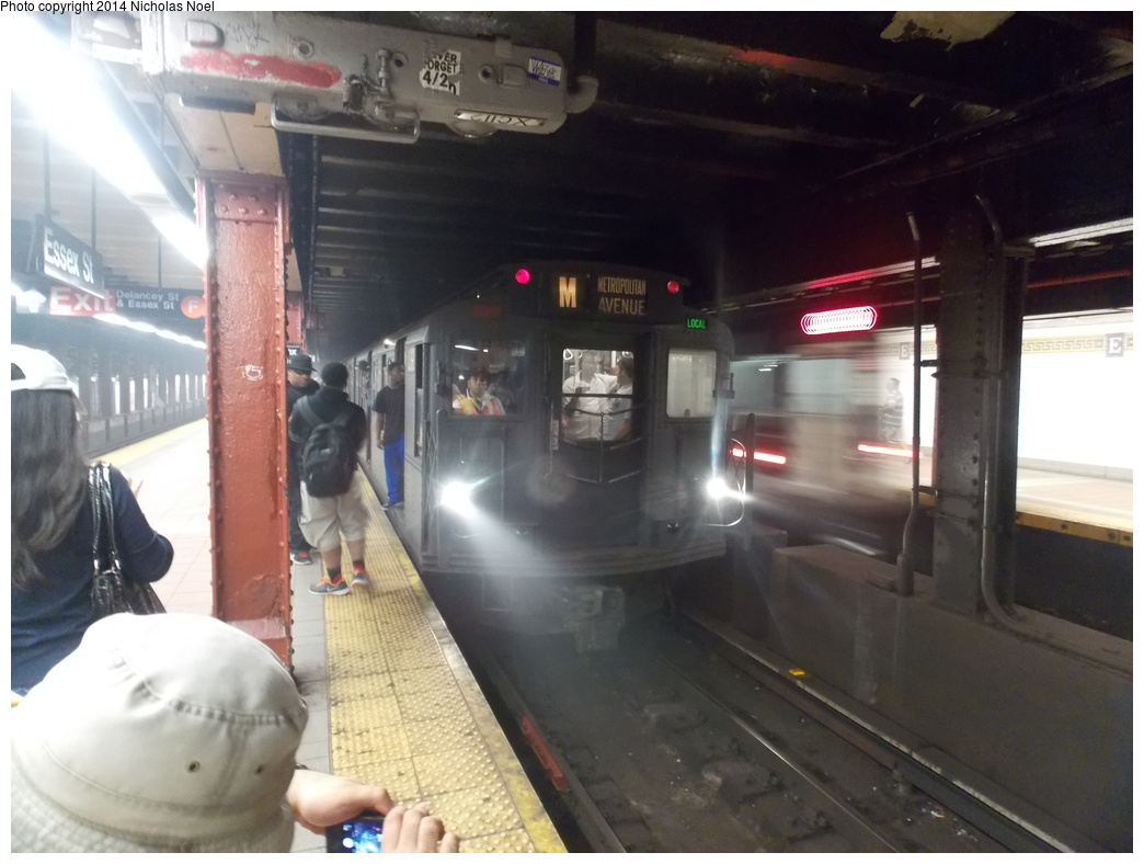 (299k, 1044x788)<br><b>Country:</b> United States<br><b>City:</b> New York<br><b>System:</b> New York City Transit<br><b>Line:</b> BMT Nassau Street/Jamaica Line<br><b>Location:</b> Essex Street <br><b>Route:</b> Museum Train Service (M)<br><b>Car:</b> R-6-1 (Pressed Steel, 1936)  1300 <br><b>Photo by:</b> Nicholas Noel<br><b>Date:</b> 6/7/2014<br><b>Viewed (this week/total):</b> 1 / 1011