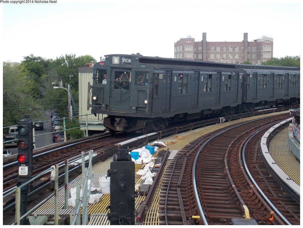 (391k, 1044x788)<br><b>Country:</b> United States<br><b>City:</b> New York<br><b>System:</b> New York City Transit<br><b>Line:</b> BMT Myrtle Avenue Line<br><b>Location:</b> Seneca Avenue <br><b>Route:</b> Museum Train Service (M)<br><b>Car:</b> R-9 (Pressed Steel, 1940)  1802 <br><b>Photo by:</b> Nicholas Noel<br><b>Date:</b> 6/7/2014<br><b>Viewed (this week/total):</b> 0 / 1190