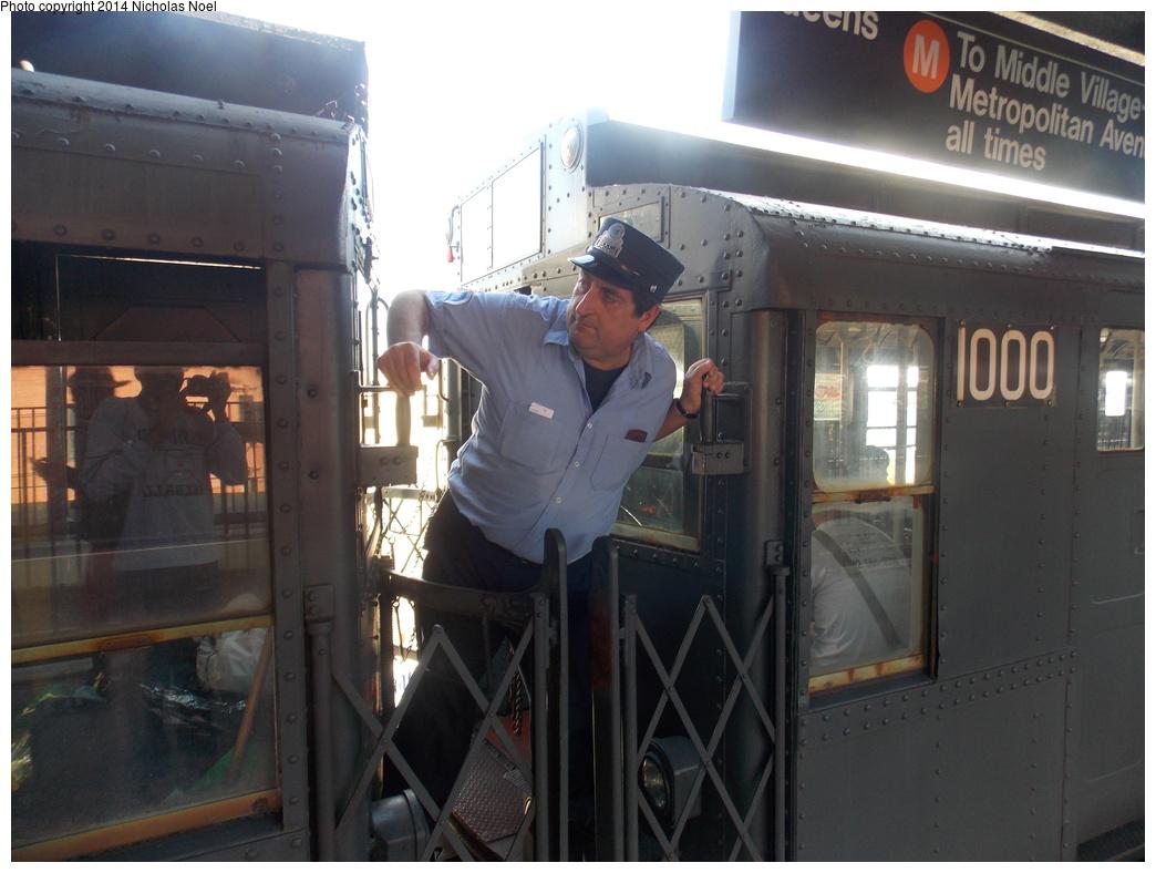 (314k, 1044x788)<br><b>Country:</b> United States<br><b>City:</b> New York<br><b>System:</b> New York City Transit<br><b>Line:</b> BMT Myrtle Avenue Line<br><b>Location:</b> Wyckoff Avenue <br><b>Route:</b> Museum Train Service (M)<br><b>Car:</b> R-6-3 (American Car & Foundry, 1935)  1000 <br><b>Photo by:</b> Nicholas Noel<br><b>Date:</b> 6/7/2014<br><b>Viewed (this week/total):</b> 9 / 1558