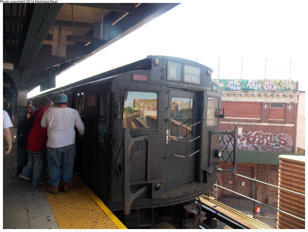 (351k, 1044x788)<br><b>Country:</b> United States<br><b>City:</b> New York<br><b>System:</b> New York City Transit<br><b>Line:</b> BMT Myrtle Avenue Line<br><b>Location:</b> Wyckoff Avenue <br><b>Route:</b> Museum Train Service (M)<br><b>Car:</b> R-6-1 (Pressed Steel, 1936)  1300 <br><b>Photo by:</b> Nicholas Noel<br><b>Date:</b> 6/7/2014<br><b>Viewed (this week/total):</b> 2 / 1189